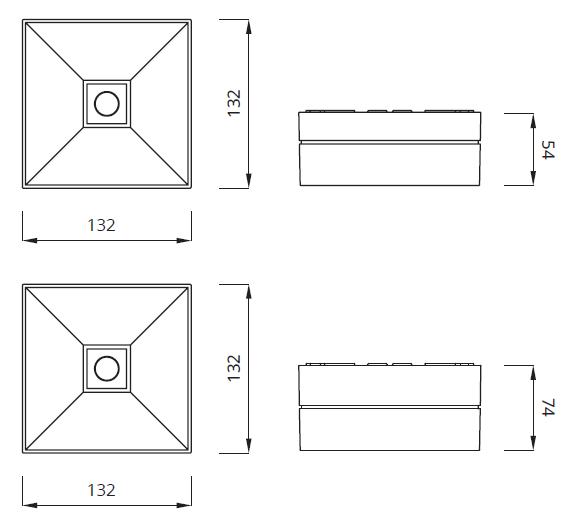 Размер светодиодного аварийного светильника IP41 для открытых зон Lovato II Awex