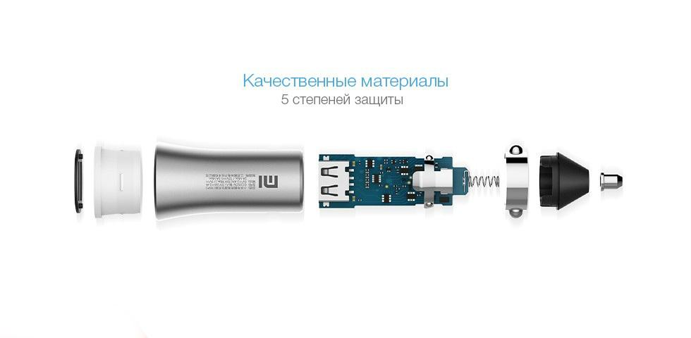 Автомобильная зарядка Xiaomi Car Charger 18W (серебро)