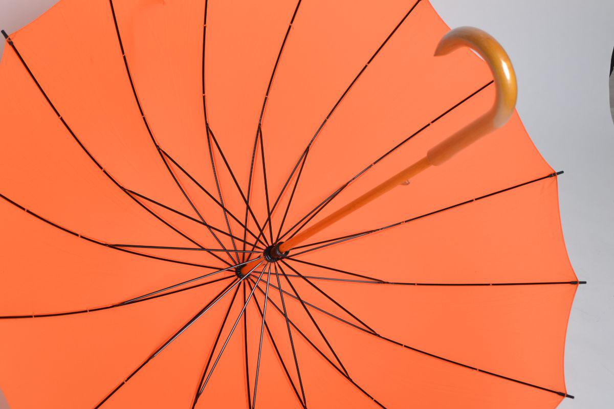 Зонт трость оранжевый 16 спиц с деревянной ручкой | ZC Umbrella 16k