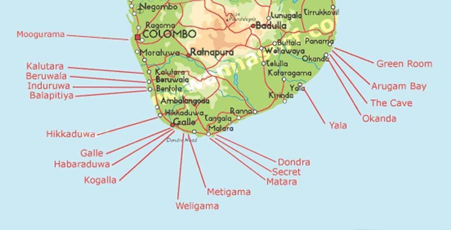 Карта серф-спотов Шри Ланка