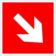 Пожарные знаки безопасности F01-02 Направляющая стрелка под углом 45°