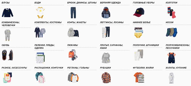 Ассортимент детской одежды в интернет-магазине