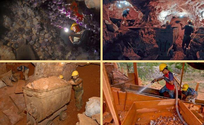 Добыча и первичная обработка аметрина. Кварцевая шахта.