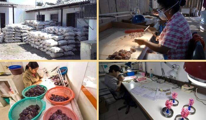 обработка аметрина в Боливии