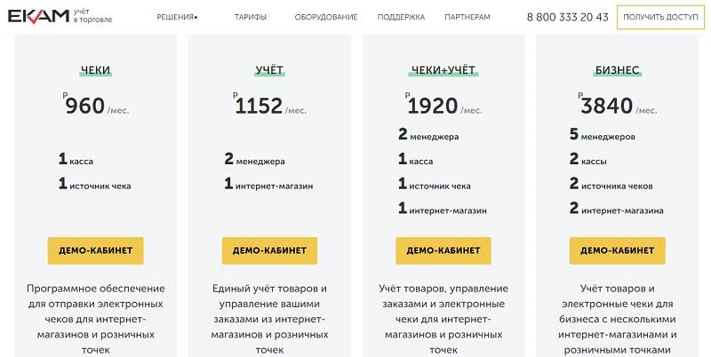Тарифы товароучетного сервиса «ЕКАМ» для интернет-магазинов