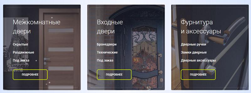 Категории товаров на сайте по продаже дверей