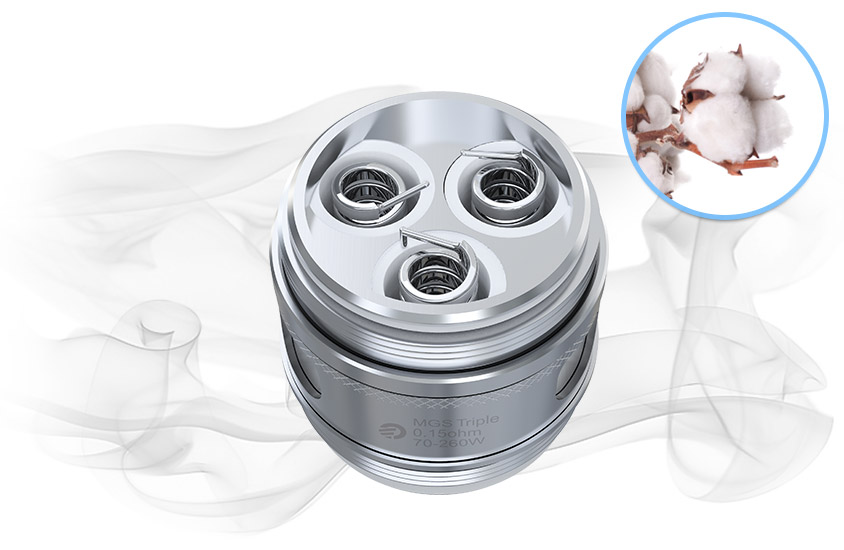 Испаритель Joyetech MGS Triple использует чистый хлопок, который принесёт совершенно чистый аромат для вас.