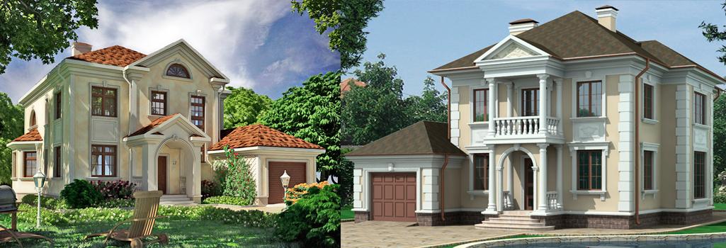 Маленькие дома с лепниной из пенопласта