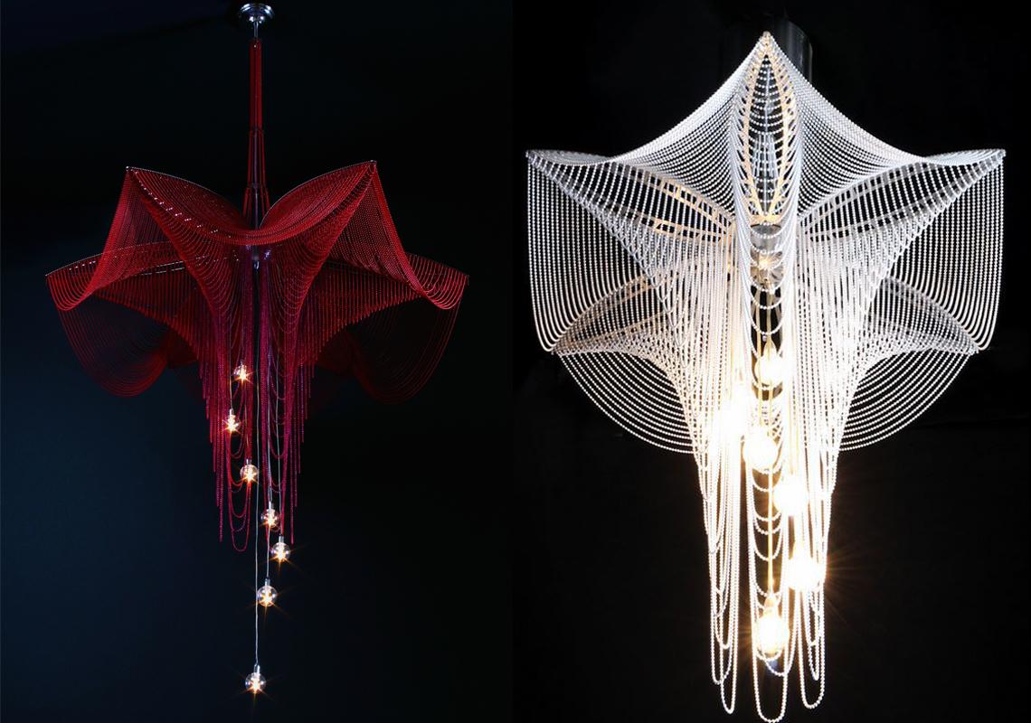 Светильник, форма которого напоминает свисающие цветки фуксии: металлические «лепестки» из-за своего веса приобретают своеобразную форму и складываются в изящный узор.