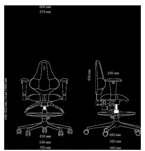 Габариты кресла KULIK SYSTEM KIDS