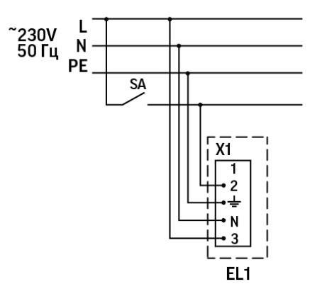 Электрическая схема подключения светильника аварийного освещения постоянного действия серии Strong EM 1200 IP65