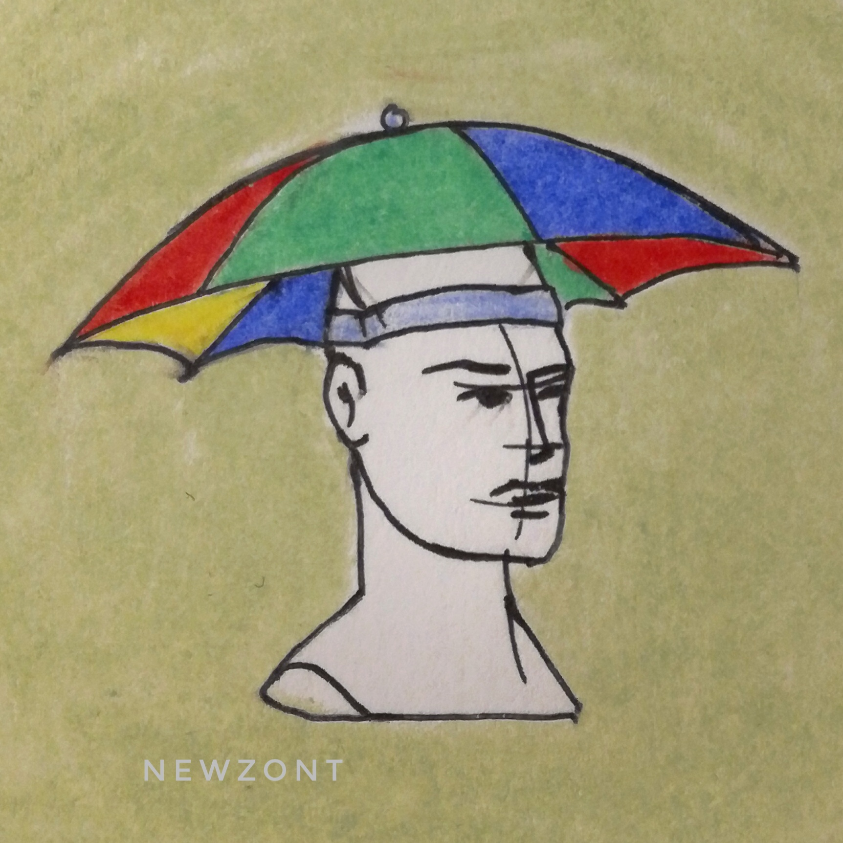 Необычный зонт шапка