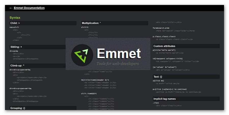 Документация плагина Emmet