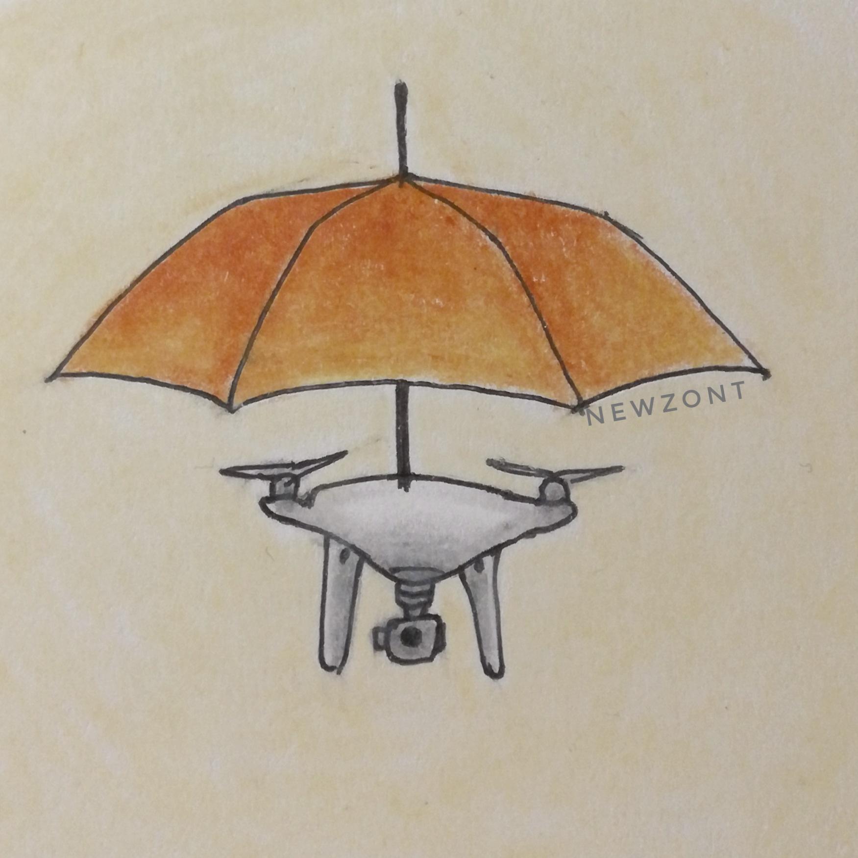 Необычный зонт-дрон