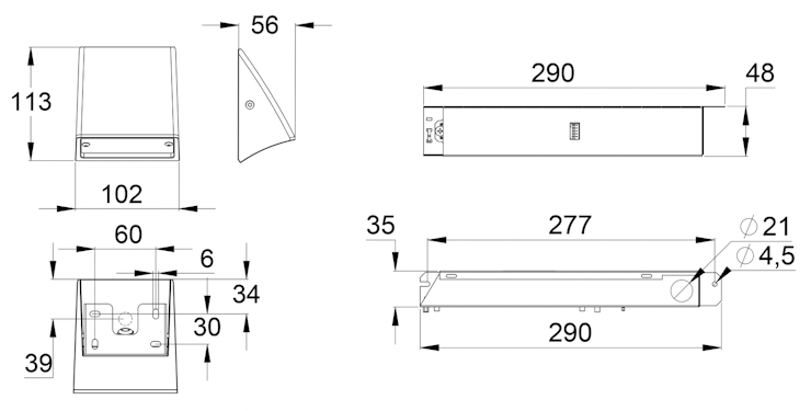 Чертеж аварийного централизованного светильника для наружного аварийного освещения серии SMOOTH Zone