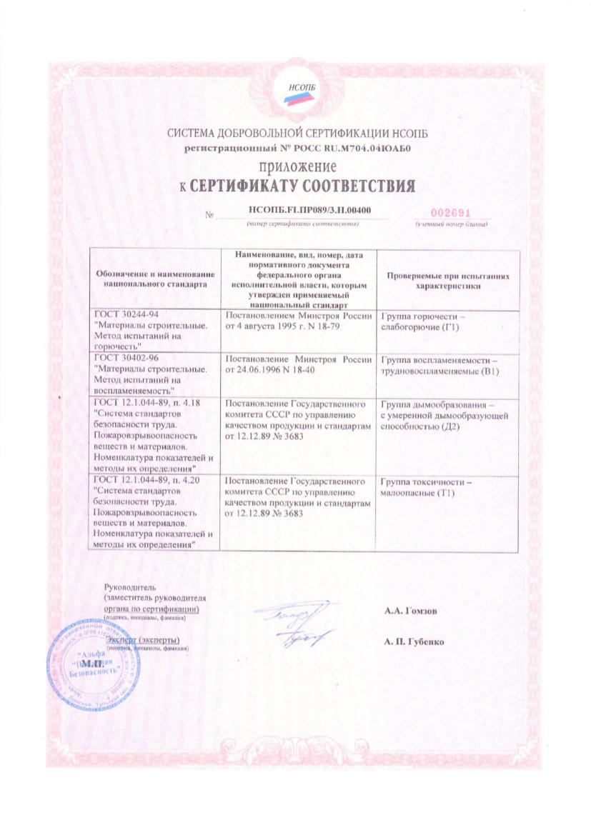 Пожарный сертификат Гармония-2