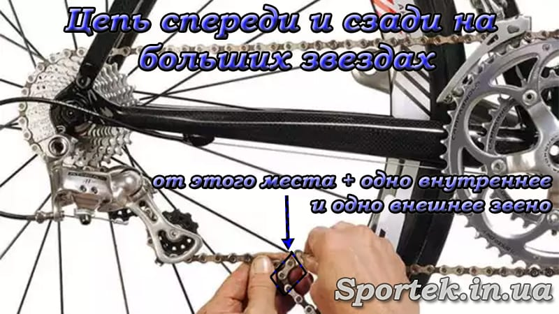 Определение длины цепи велосипеда методом спереди и сзади на самые большие звезды