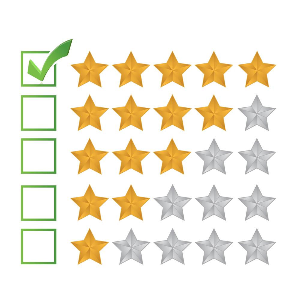 отзыв оценка пять звездочек