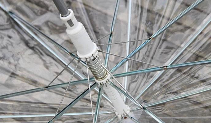 Зонт трость прозрачный с арочным куполом с белой ручкой