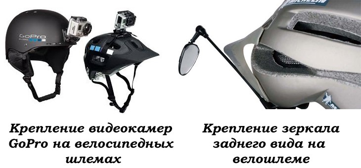 Крепление на велошлем камер GoPro и зеркала заднего вида