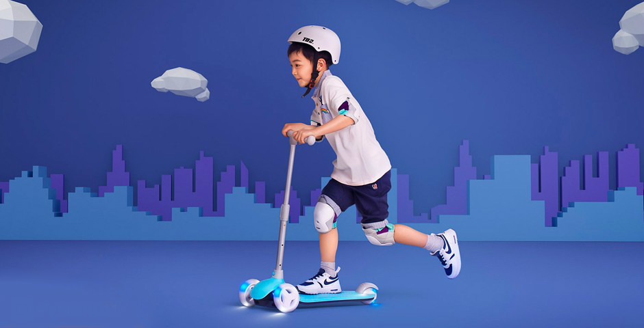Детский самокат-кикборд Xiaomi Rice Rabbit Scooter (голубой)