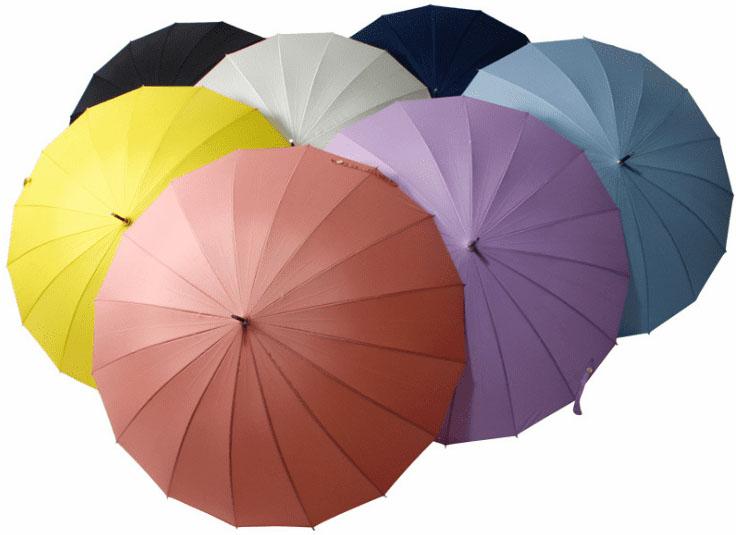 Зонт трость розовый с бамбуковой ручкой | ZC bamboo umbrella handle