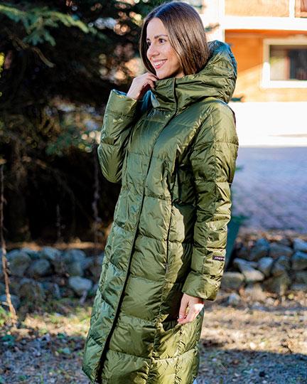 Демисезонное пуховое пальто Joutsen Essi зеленого цвета