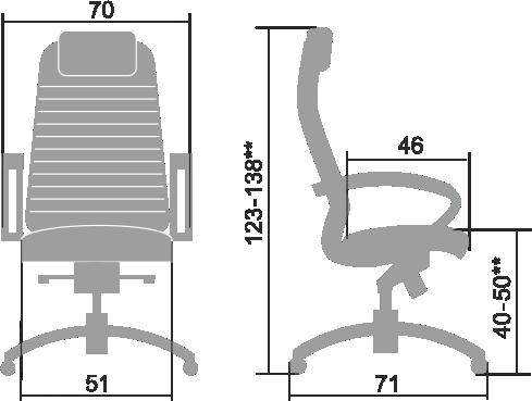 Размеры кресла Samurai