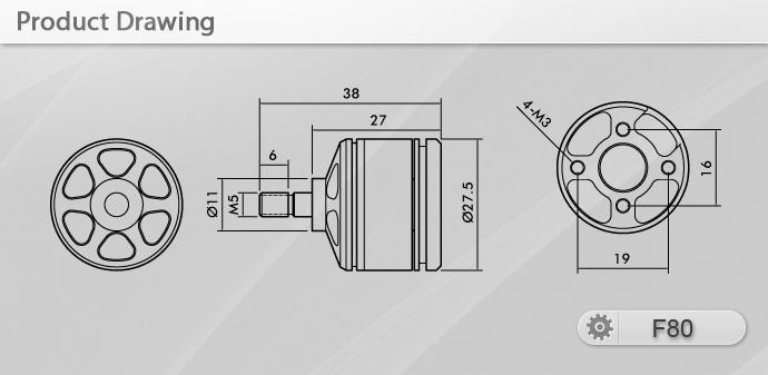 Чертёж мотора T-Motor F80 KV2100