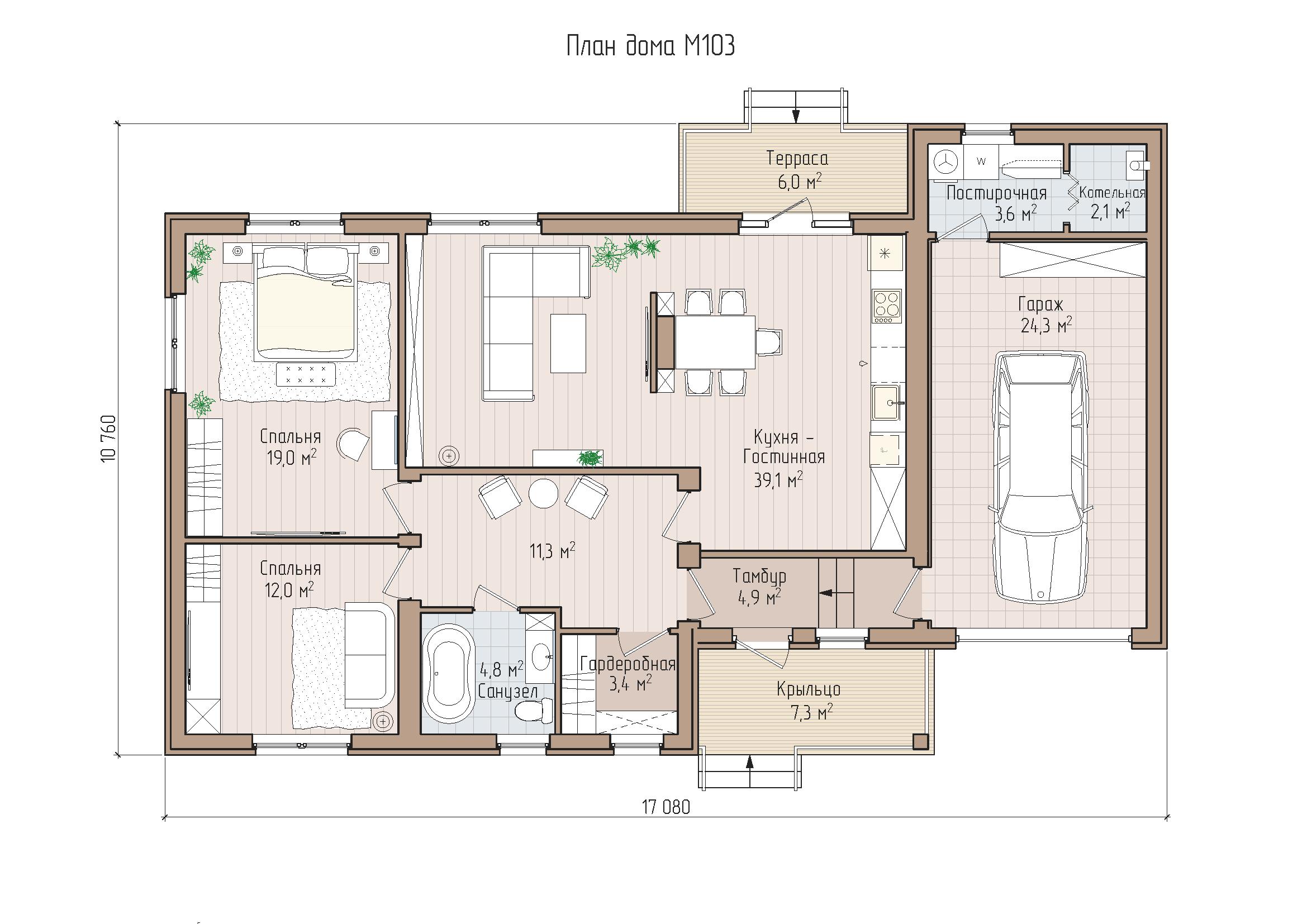 Продуманный одноэтажный дом с гаражом
