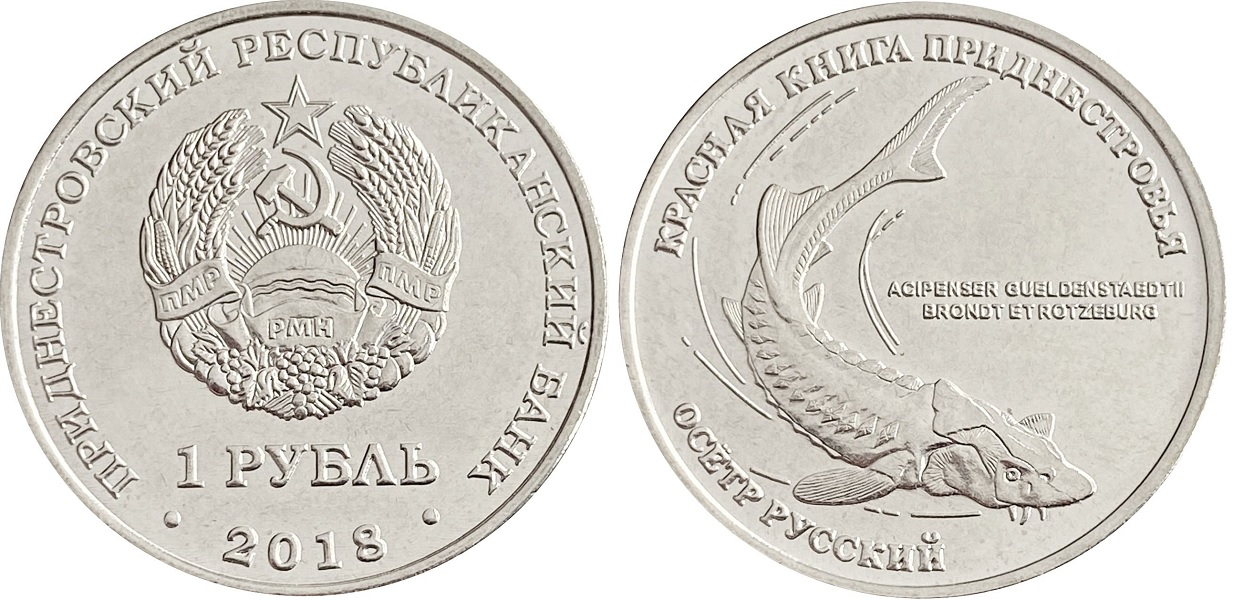 1 рубль «Русский осетр» 2018