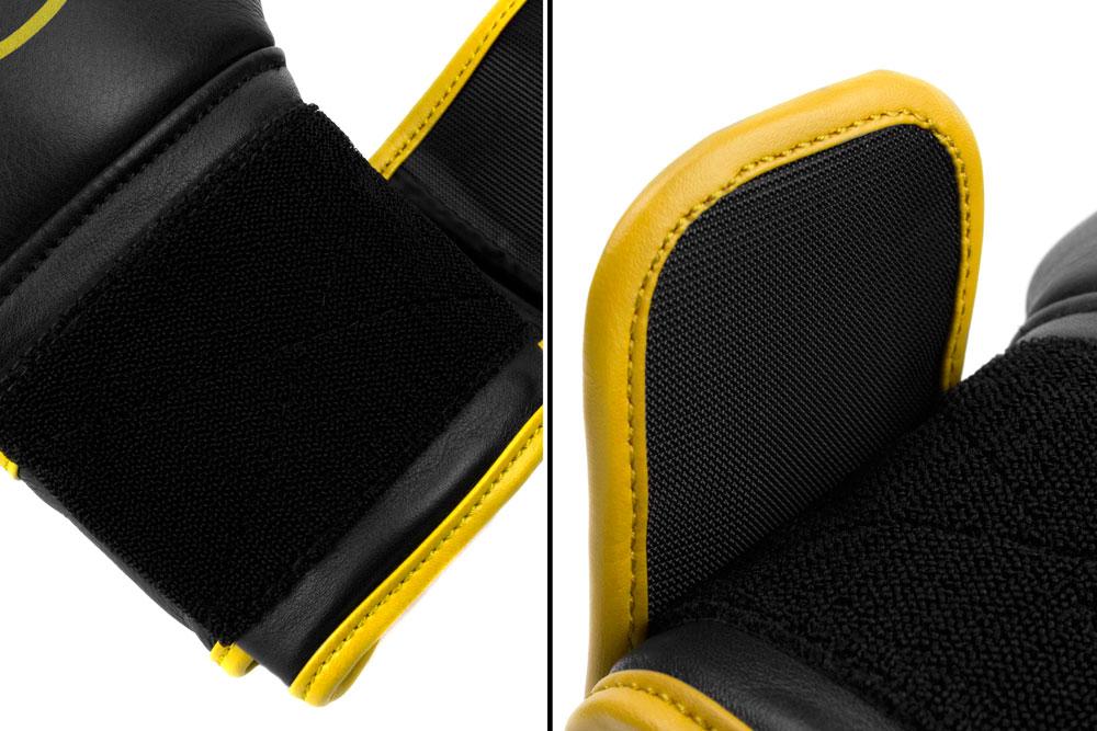 Вид фиксации черно-желтых боксёрских перчаток Dozen Monochrome