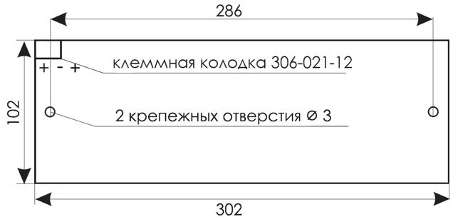 Установочные размеры для светового табло уличного исполнения IP55 КРИСТАЛЛ-12 НИ и КРИСТАЛЛ-24 НИ