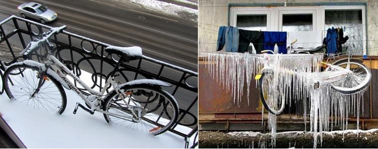 Велосипеды на открытых балконах