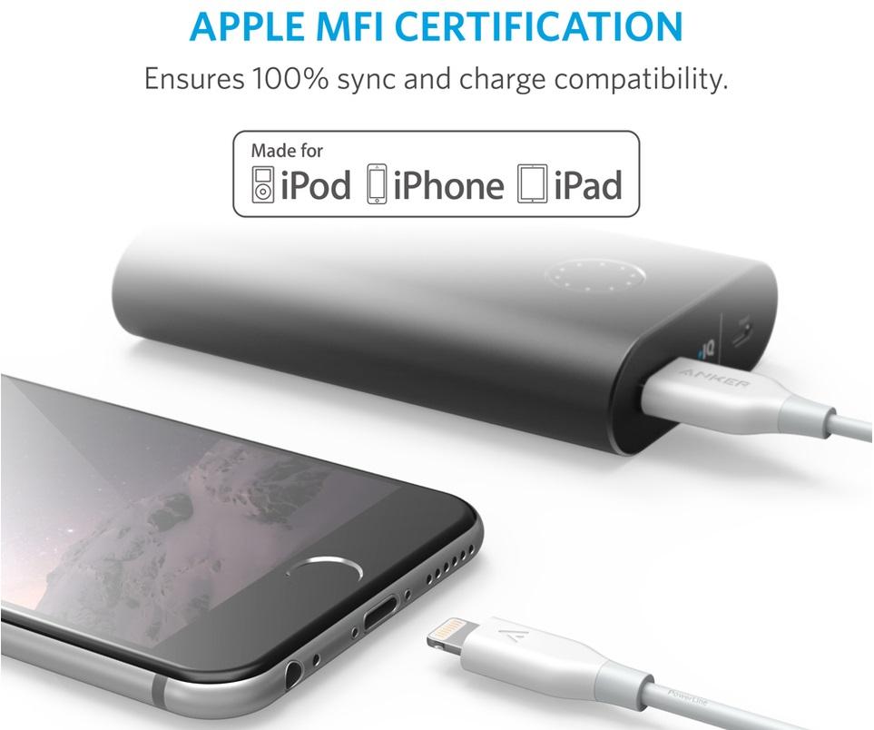 Усиленный нейлоновый кабель Anker PowerLine+ Lightning - для синхронизации Apple iPhone, iPad и iPod с разъёмом Lightning.