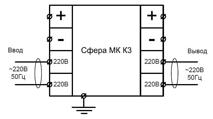 Схема подключения светозвукового взрывозащищенного оповещателя Сфера МК для работы от сети переменного напряжения 220V AC
