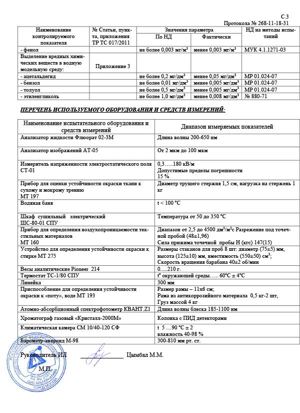 протокол испытаний на соответствии трусов Великоросс требованиям ГОСТа страница 3