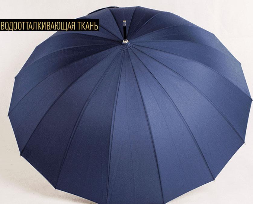 Зонт трость темно-синий с бамбуковой ручкой | ZC bamboo umbrella handle