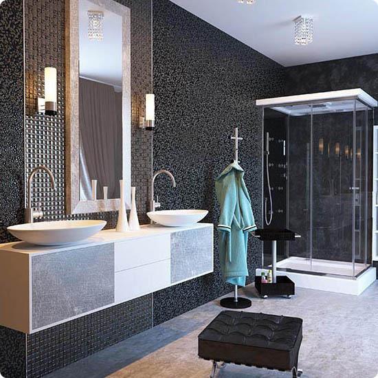 Черная мозаика в интерьере ванной комнаты