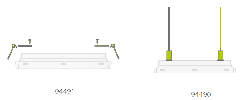 Комплекты для встраиваемого и подвесного монтажа автономного эвакуационного светильника с аккумуляторной батареей Vella LED