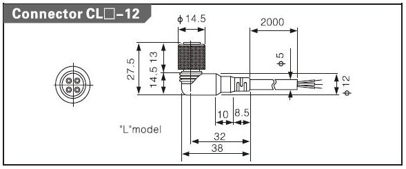 Разъём CL3-12  PNP With LED  Angle 2m length