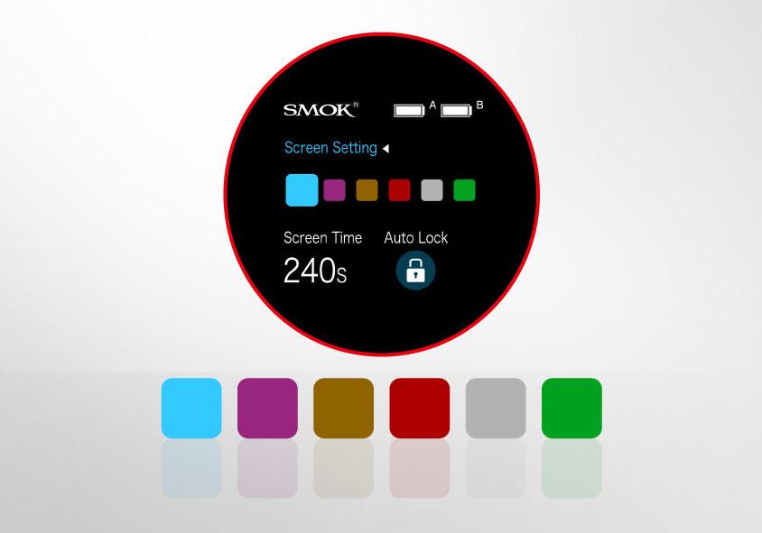 6 цветов настройки экрана SMOK S-Priv