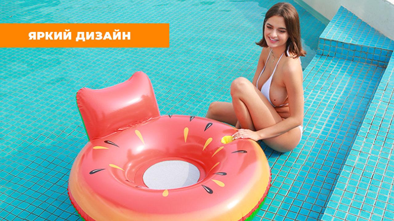 """Надувной матрас для плавания """"Арбуз с подушкой"""" (120 см)"""