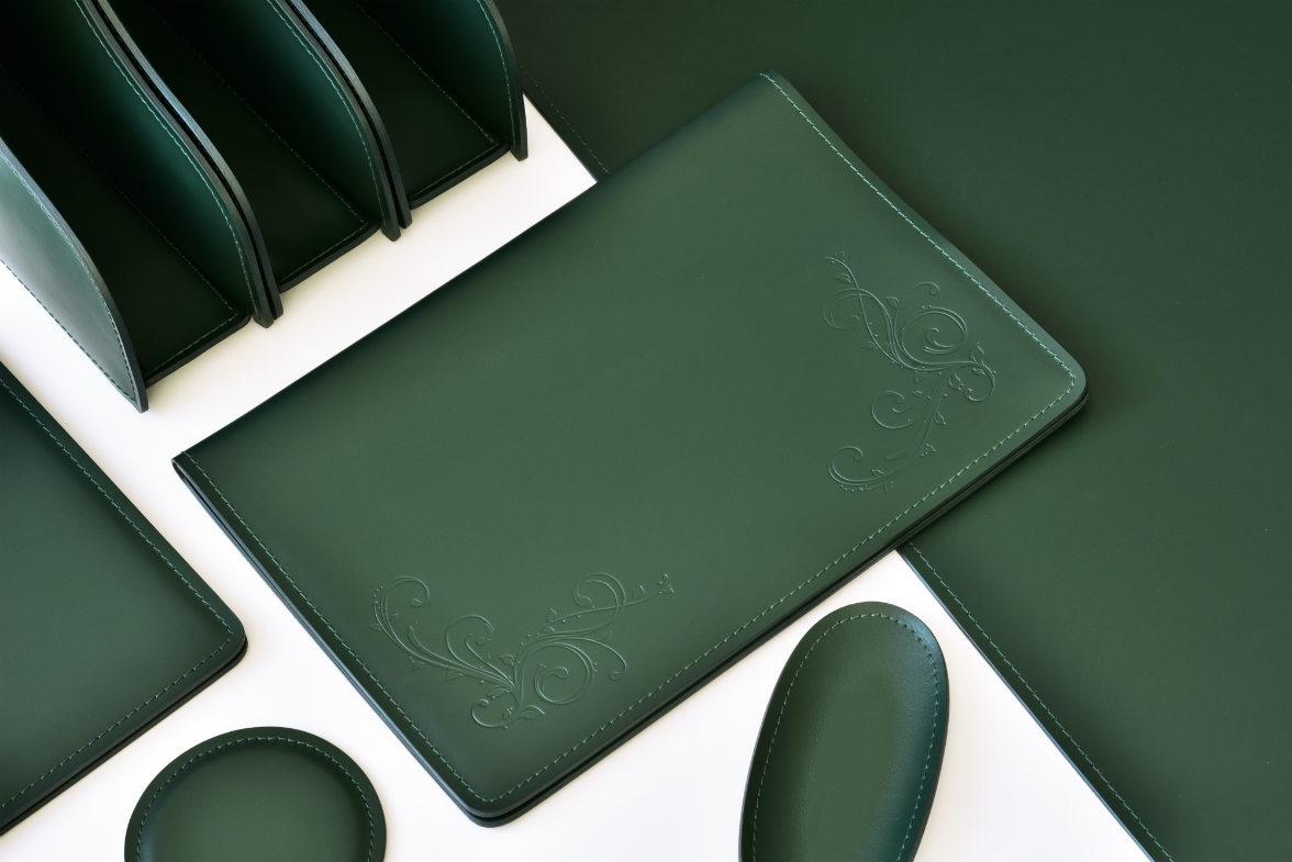 зеленый настольный набор кожа натуральная