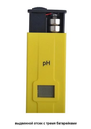 Внешний вид pH-метра, отсек батареек