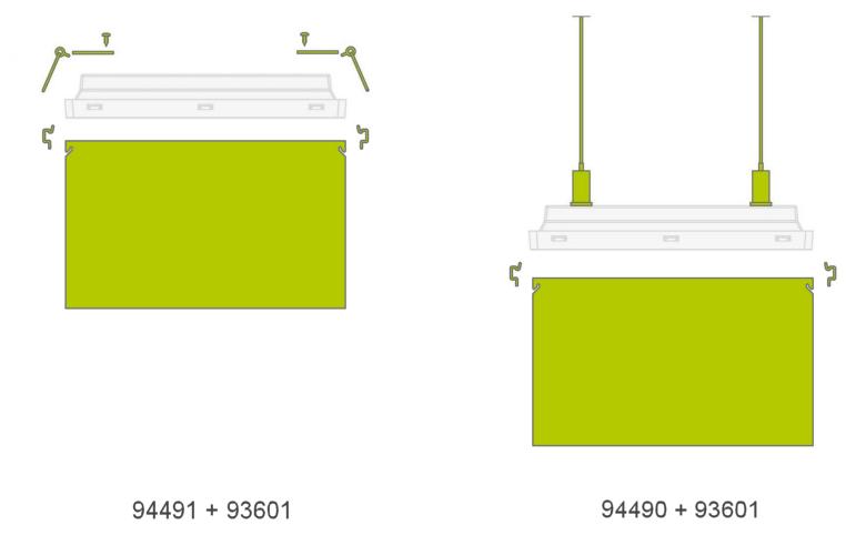 Комплекты для встраиваемого и подвесного монтажа светового указателя направления движения Vella LED DS