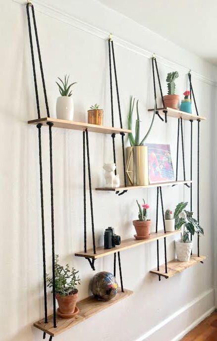 полки с веревками декор стен