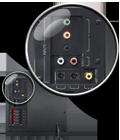 Logitech Z906 множество разъемов для подключения