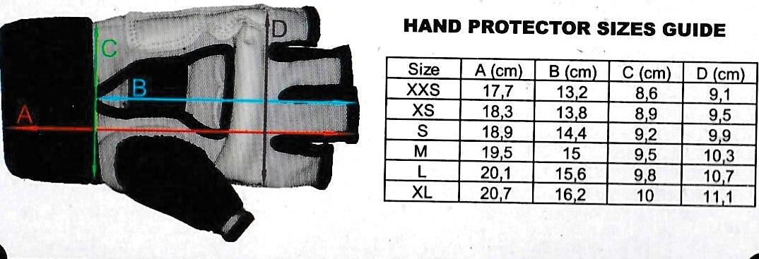 Размерная таблица перчаток WTF Khan Club