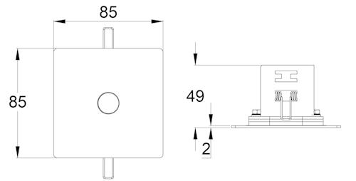 Чертеж потолочного светильника аварийного освещения серии SLIMSPOT II